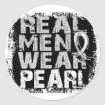 Lung Cancer Real Men Wear Pearl Round Stickers