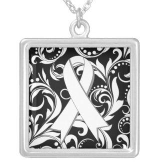 Lung Cancer Ribbon Deco Floral Noir Pendants