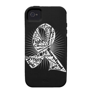 Lung Cancer Ribbon Powerful Slogans iPhone 4/4S Covers