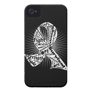Lung Cancer Ribbon Powerful Slogans iPhone 4 Case