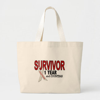 Lung Cancer Survivor 1 Year Jumbo Tote Bag