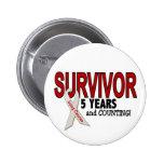 Lung Cancer Survivor 5 Years 6 Cm Round Badge