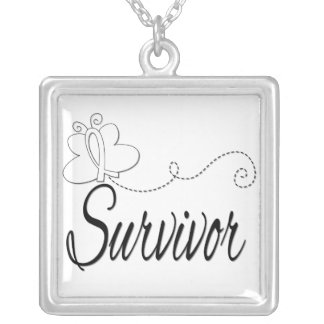 Lung Cancer Survivor Butterfly Ribbon Custom Necklace