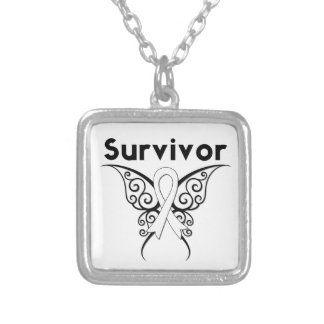 Lung Cancer Survivor Butterfly Ribbon Square Pendant Necklace