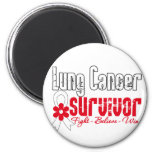 Lung Cancer Survivor Flower Ribbon Refrigerator Magnets
