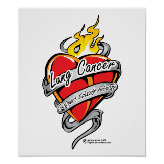 Lung Cancer Tattoo Heart Print