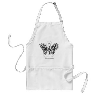 Lung Cancer Tribal Butterfly Ribbon Adult Apron