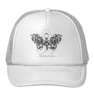 Lung Cancer Tribal Butterfly Ribbon Mesh Hat