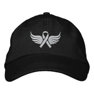 Lung Cancer Winged Ribbon Embroidered Hats