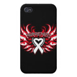 Lung Disease Awareness Heart Wings.png iPhone 4 Cases