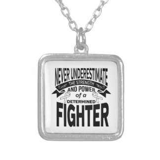 Lung Disease Determined Fighter Square Pendant Necklace
