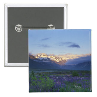 Lupine and the Main Divide, Arthur's Pass, South 15 Cm Square Badge