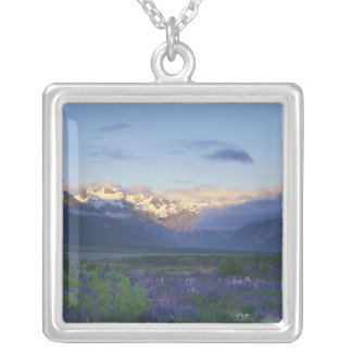 Lupine and the Main Divide, Arthur's Pass, South Silver Plated Necklace