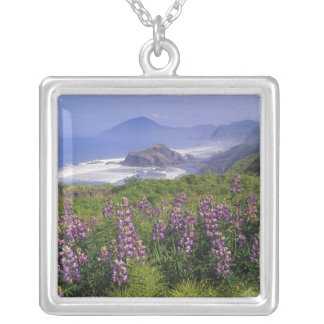 Lupine flowers and rugged coastline along silver plated necklace