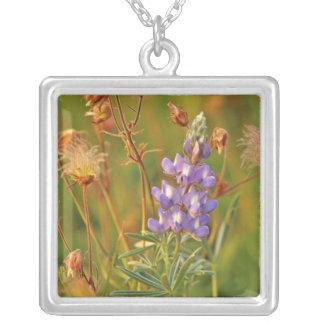 Lupine & Prairie Smoke wildflowers in Montana 2 Square Pendant Necklace