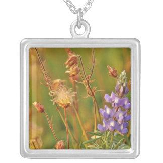 Lupine & Prairie Smoke wildflowers in Montana Square Pendant Necklace