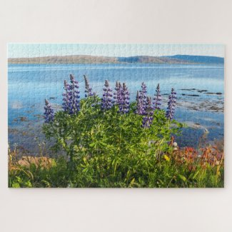 Lupins by an Icelandic Fjord Jigsaw Puzzle