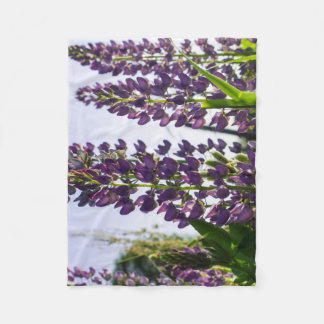 Lupins purple fleece blanket