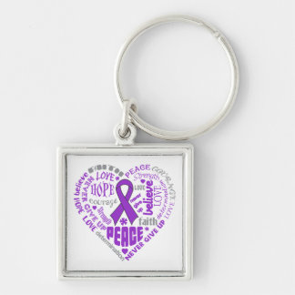 Lupus Awareness Heart Words Key Chain
