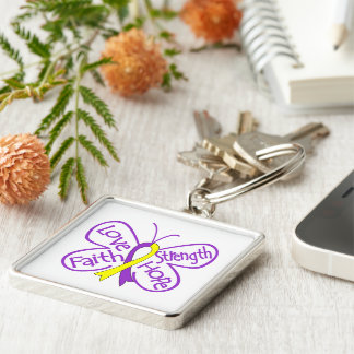 Lupus Endometriosis Butterfly Inspiring Words Silver-Colored Square Key Ring
