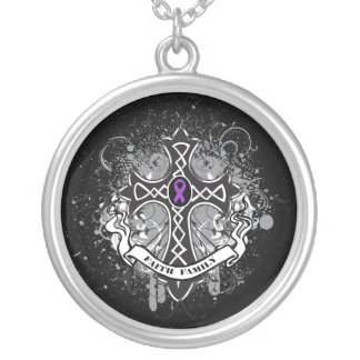 Lupus  - Faith Family Prayer Cross Silver Plated Necklace