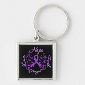 Lupus Hope Motto Butterfly Silver-Colored Square Key Ring