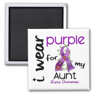 Lupus I WEAR PURPLE FOR MY AUNT 43 Square Magnet