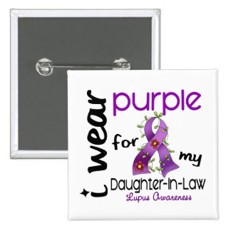 Lupus I WEAR PURPLE FOR MY DAUGHTER-IN-LAW 43 15 Cm Square Badge