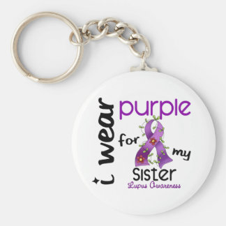 Lupus I WEAR PURPLE FOR MY SISTER 43 Basic Round Button Key Ring