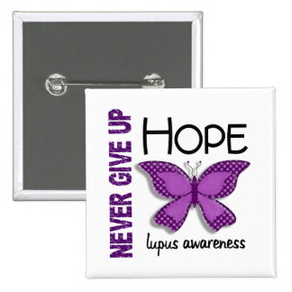 Lupus Never Give Up Hope Butterfly 4.1 15 Cm Square Badge