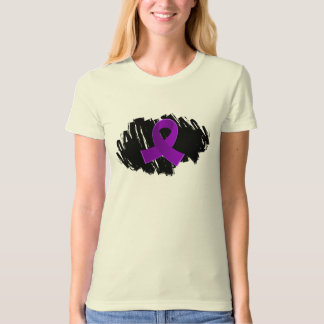 Lupus Purple Ribbon With Scribble T Shirt