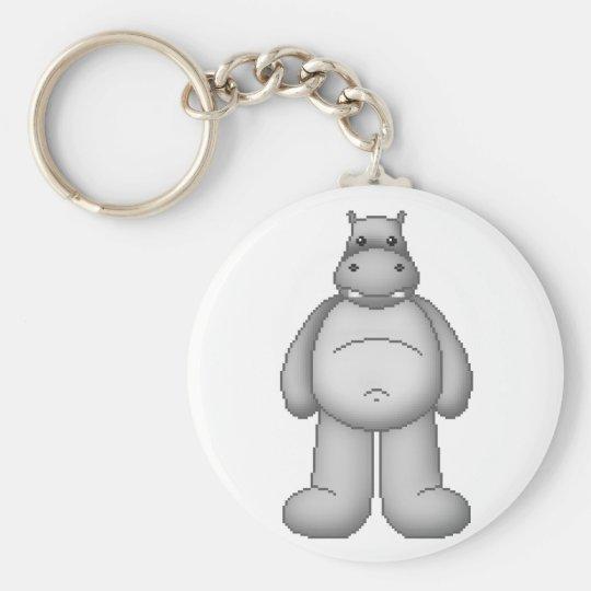 Lura's Critter Plump Hippo Basic Round Button Key Ring
