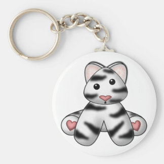 Lura's Stuffed White Tiger Basic Round Button Key Ring