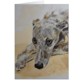 Lurcher dog greetings card