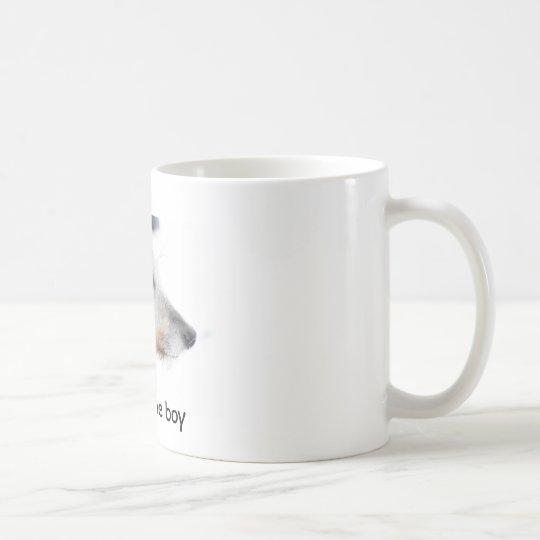 Lurcher dog in snow, Handsome boy Coffee Mug