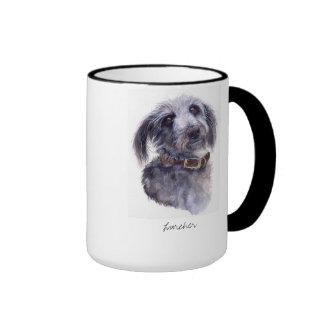 Lurcher Dog in Watercolour Ringer Mug