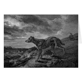 Lurcher Dogs Vintage Drawing Greeting Card
