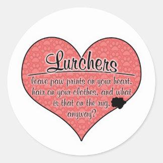 Lurcher Paw Prints Dog Humor Round Sticker