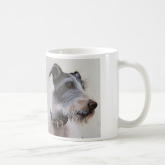 """Lurcher watercolor with """"Man's Best Friend"""" text Basic White Mug"""