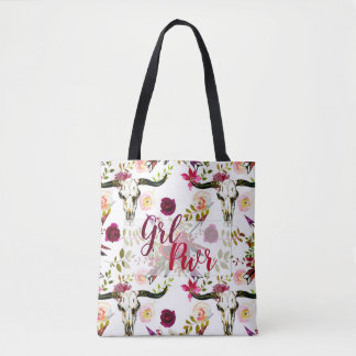 Luscious Burgundy Boho Floral GRL PWR Gift Tote Bag