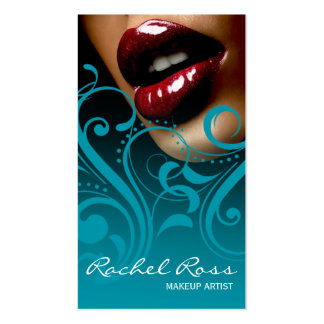 Luscious Glossy Lips Curliques | ocean blue Business Card Templates