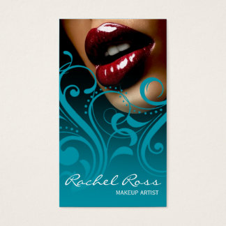 Luscious Glossy Lips Curliques | ocean blue Business Card