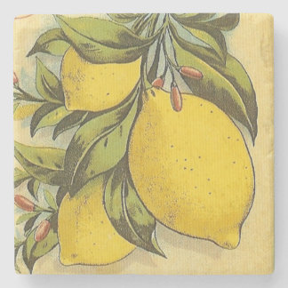 Luscious Lemons Square Stone Beverage Coaster