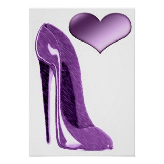 Luscious Lilac Stiletto High Heel Shoe and Heart   Poster