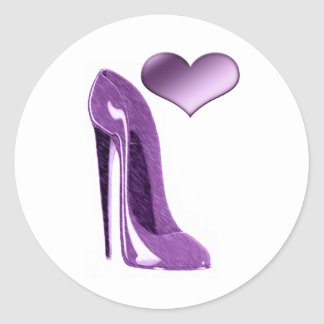 Luscious Lilac Stiletto High Heel Shoe and Heart Round Sticker