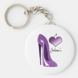Luscious Lilac Stiletto Shoe and 3D Heart Key Ring