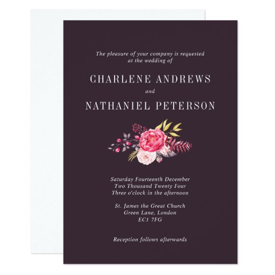 Luscious Muted Plum Pink Peony Wedding Invitation