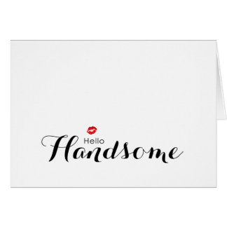 Luscious Red Lips Hello Handsome Note Card