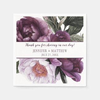 Luscious Vibrant Purple Plum Peonies Reception | Disposable Serviettes