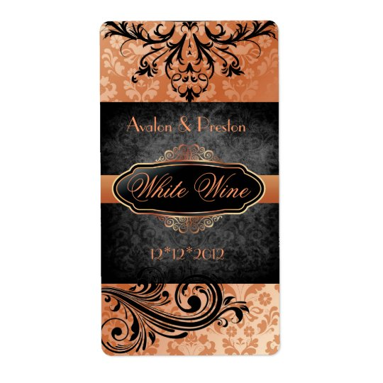 Luscious Vintage Orange Scroll Wedding Wine Label